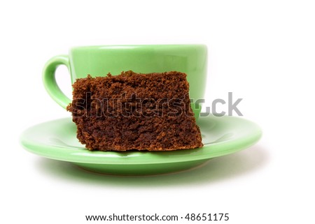 Chocolate fudge brownie with cup of espresso coffee - stock photo