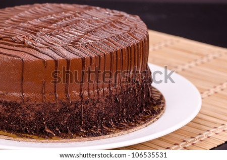 Chocolate Fudge Cake Drizzled with Chocolate Syrup - stock photo