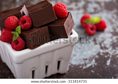 Chocolate fudge pieces with raspberries homemade and delicious - stock photo