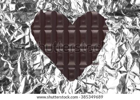 Chocolate heart background - stock photo
