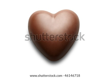 Chocolate heart isolated on the white background. - stock photo