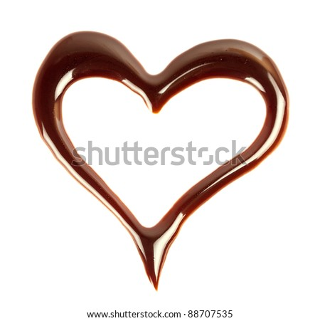 chocolate heart isolated on white background - stock photo