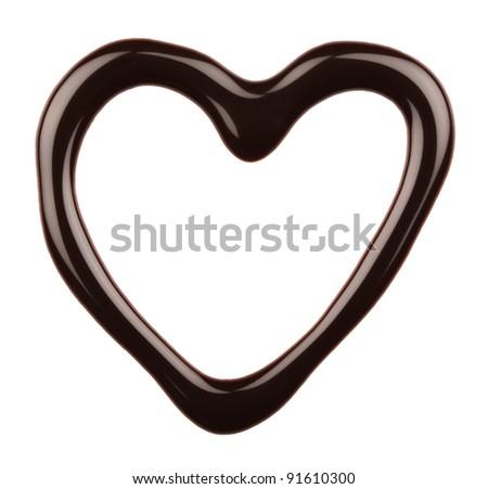 Chocolate heart isolated on white background - stock photo