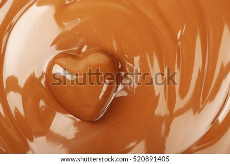 chocolate heart on melted chocolate surface