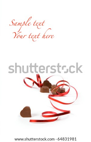 chocolate heart shape for gift on white background - stock photo