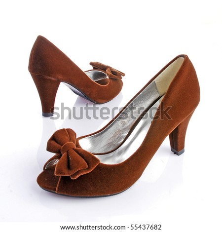 chocolate high-heeled shoes - stock photo