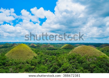 Chocolate Hills natural landmark, Bohol island, Philippines - stock photo