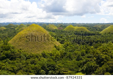 Chocolate hills panorama. Bohol Island, Philippines