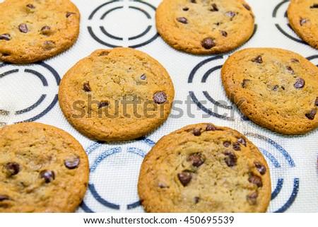 Chocolate homemade pastry cookies. Fresh tasty home made chocolate chip cookies. Chocolate chips cookies - stock photo