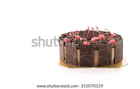 chocolate ice-cream cake on white background - stock photo
