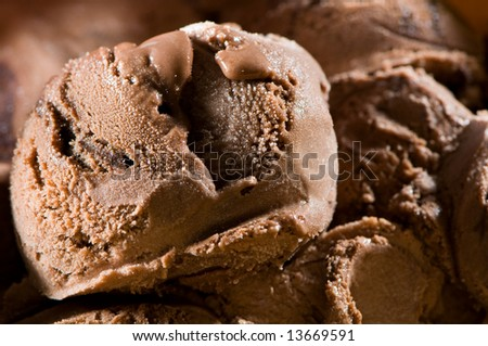 Chocolate ice cream close-up - stock photo