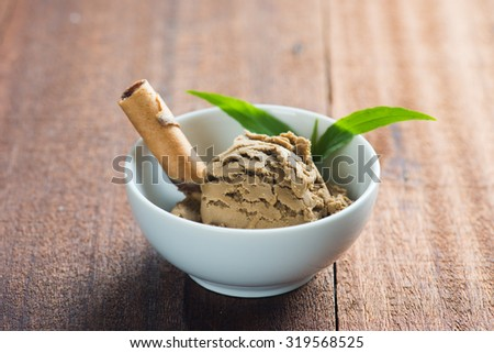 Chocolate ice cream close up - stock photo