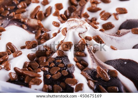 Chocolate Ice Cream, close up, horizontal image - stock photo