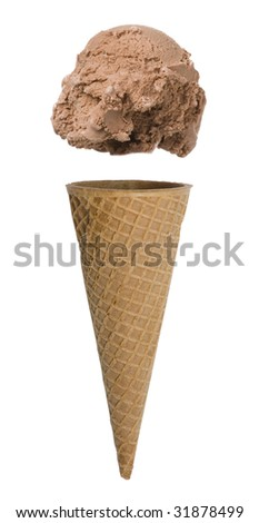 Chocolate ice cream cone with scoop floating above cone - stock photo