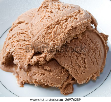 Chocolate ice cream ready to eat or serve
