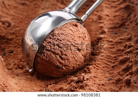 Chocolate ice cream scoop - stock photo