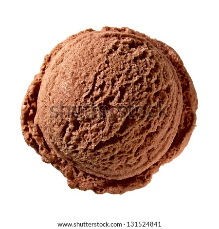 Chocolate Ice Cream Scoop From Top on white background - stock photo