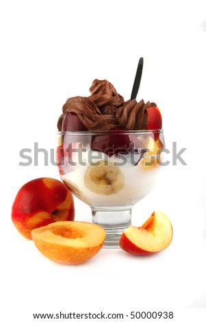 chocolate ice cream with fruits over white