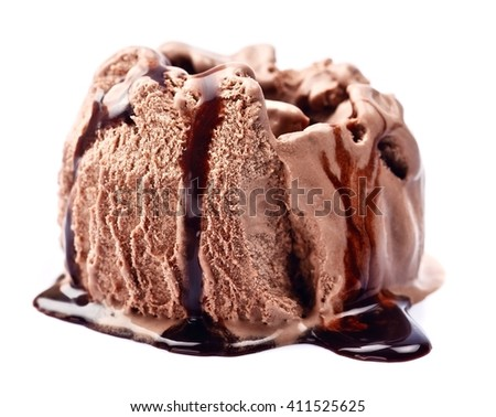 Chocolate ice cream with topping on white background - stock photo
