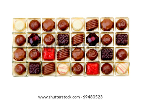 Chocolate in a gift box isolated on white - stock photo