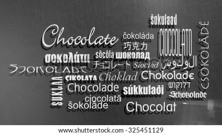 Chocolate in different languages - stock photo