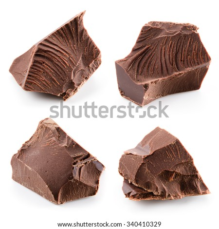 Chocolate isolated on white background. Collection.