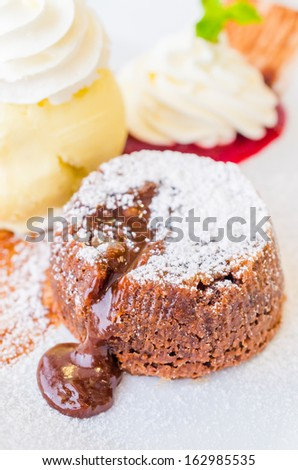 Chocolate lava cake served with icecream