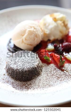 Chocolate Lava Cake with ice cream - stock photo