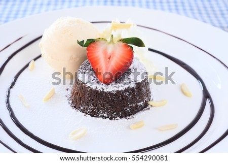 Chocolate lava cake with strawberry