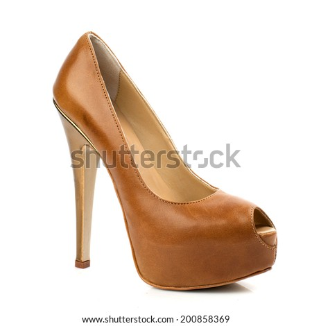 Chocolate leather high heel women shoe isolated on white background.