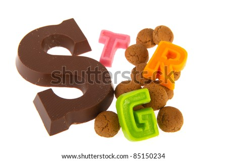 Chocolate letter and pepernoten for Dutch Sinterklaas holidays - stock photo