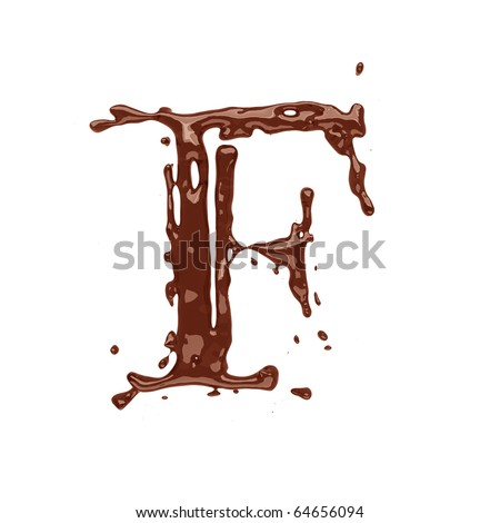 Chocolate letter F isolated on white background - stock photo