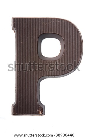 Chocolate letter in the form of a P. Used very often in country's where they celebrate Sinterklaas. Kids get the first letter of their name. P also stands for Piet (Zwarte Piet). - stock photo