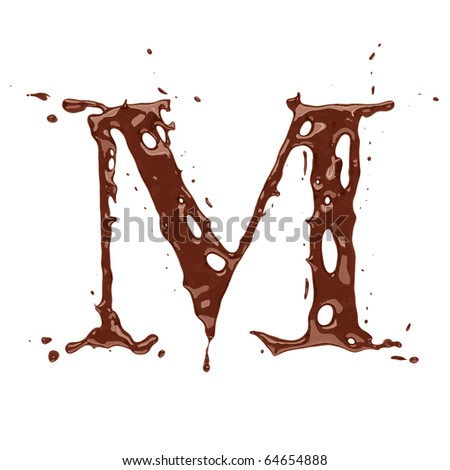 Chocolate letter M isolated on white background - stock photo