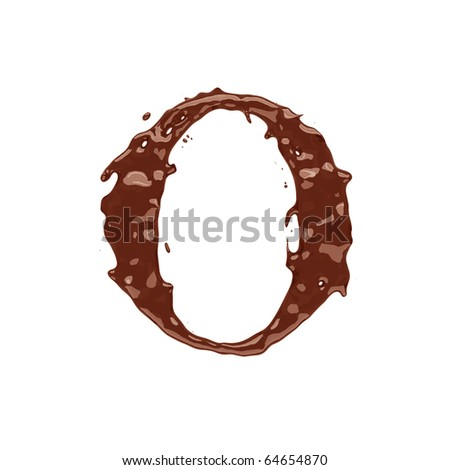 Chocolate letter O isolated on white background - stock photo