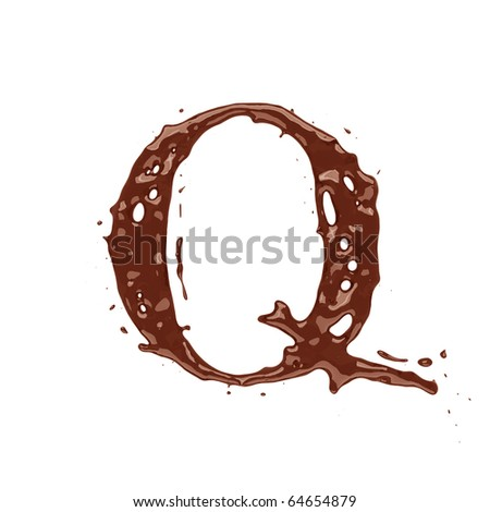Chocolate letter Q isolated on white background - stock photo
