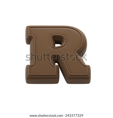 Chocolate letter R. Sweet candy font for celebration. Made in 3D. - stock photo