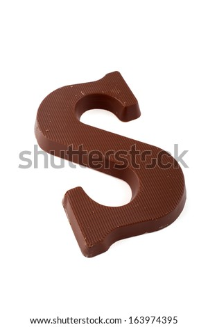 Chocolate letter S van Sinterklaas (santaclaus, the Dutch Santa) - stock photo
