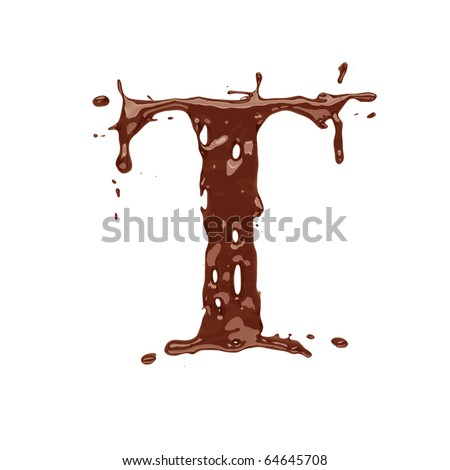 Chocolate letter T isolated on white background - stock photo