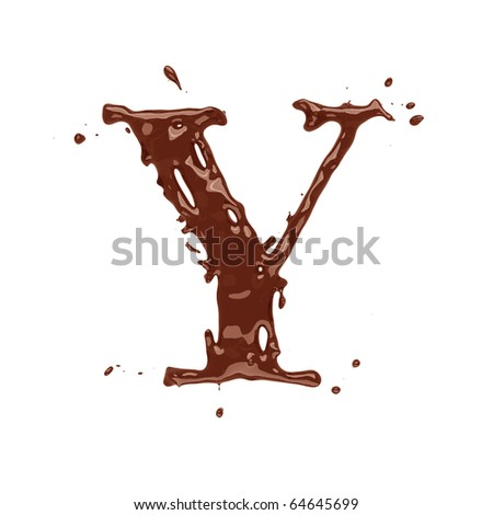 Chocolate letter Y isolated on white background - stock photo