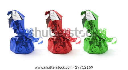 Chocolate Lollies on Isolated White Background