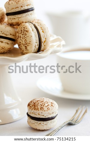 Chocolate macarons - stock photo