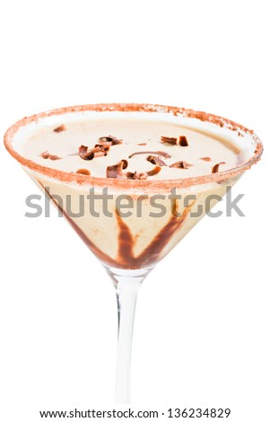 chocolate martini isolated on a white background with chocolate swirl and cocoa powder on the rim