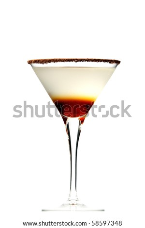 chocolate martini layered on isolated white background - stock photo