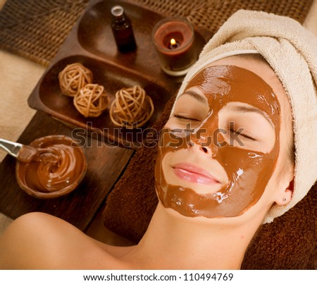 Chocolate Mask Facial Spa. Chocolate Treatments. Beauty Spa Salon - stock photo