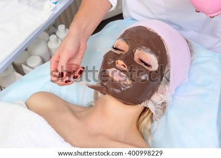 Chocolate Mask Facial Spa. Chocolate Treatments. Beauty Spa Salon. - stock photo