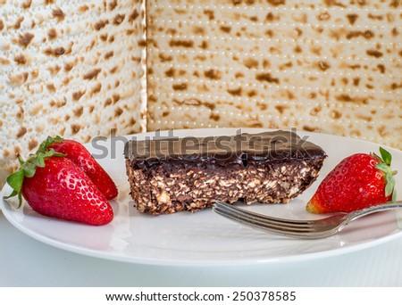 Chocolate Matzo cake for Passover holidays. - stock photo