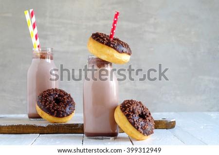 chocolate milk and chocolate donut - stock photo
