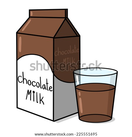 Chocolate milk carton and a glass Illustration
