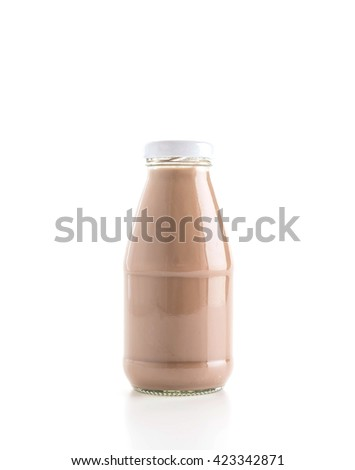 chocolate milk on white background - stock photo
